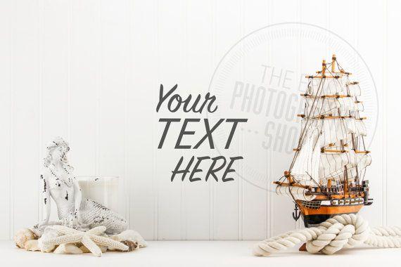 Styled Stock Photography / Beach, Seashells, Ocean, Mermaid, Sail Boat, Sea Ship, Nautical / header hero image / product background / BN012
