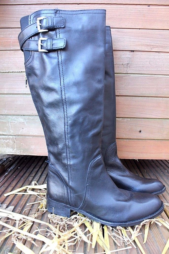 French Connection Leather Over Knee High Flat Riding Leather Boots 4 37 #FrenchConnection #KneeHighBoots #Business
