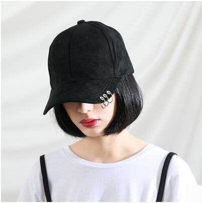 Hip hop baseball cap with metal ring for women adjustable design