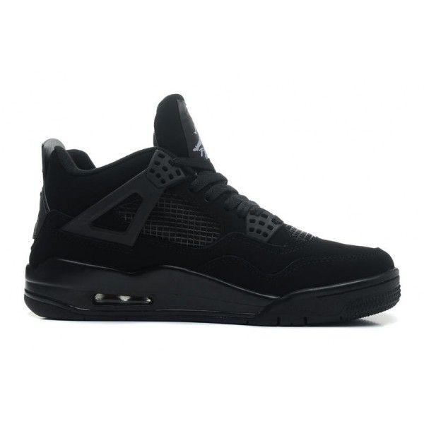 buy genuine mens air jordan 4 retro black cat black black light graphite basketball shoes