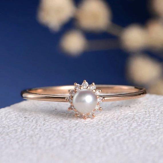 Anillo de compromiso de diamantes de perlas de Akoya natural de 18 quilates para mujeres de boda, oro rosa, promesa antigua, solitario, delicada flor de halo, delicado conjunto de novia fina DJ424   – Akoya Pearl Ring