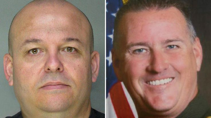Sacramento County sheriff's Deputy Danny Oliver, left, and Placer County sheriff's Det. Michael David Davis Jr. were killed during a assault rifle-wielding gunman's shooting rampage that left a third deputy and a motorist wounded. A Utah man and his wife have been arrested.
