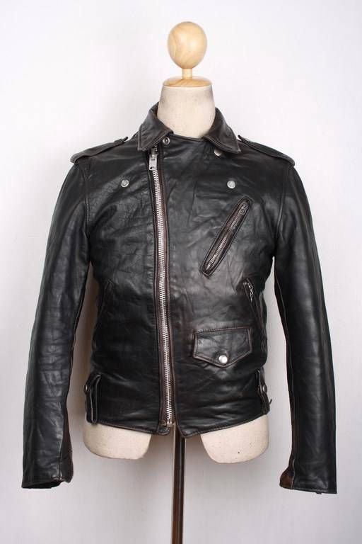 Vtg 70s SCHOTT PERFECTO Steerhide Leather POLICE Jacket MOTORCYCLE S/XS