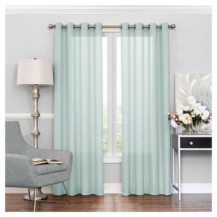 "Liberty Light Filtering Sheer Curtain Blue (52""x108"") Eclipse"