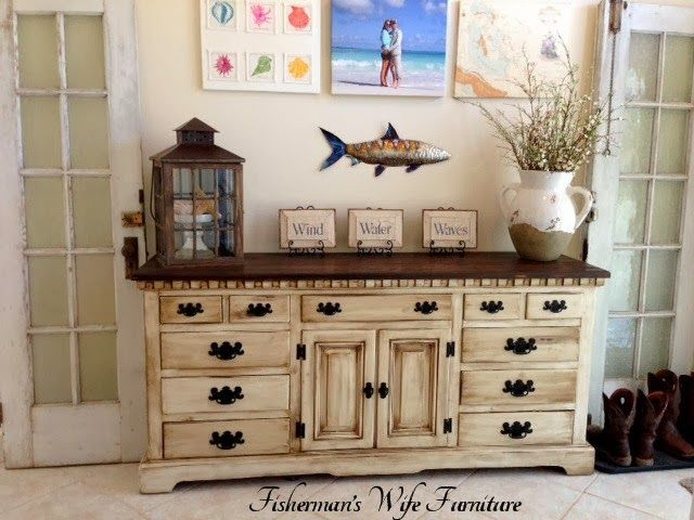 Glazed and Distressed - Turning A Dresser Into A Gorgeous Buffet By The Fisherman's Wife - Featured On Furniture Flippin'
