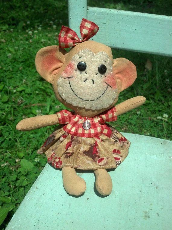 Lil' Raggedy Monkey tiny primitive monkey doll