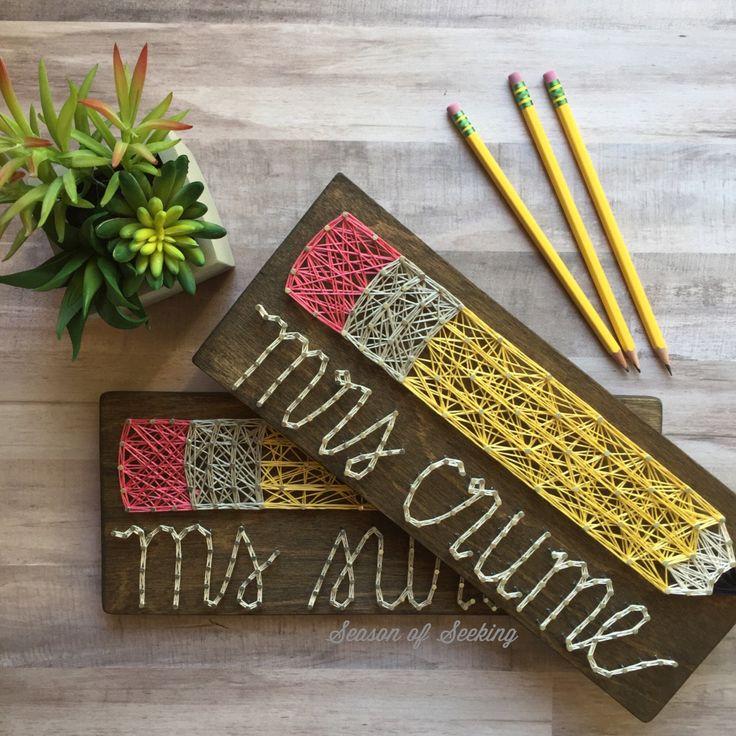 Teacher Name string art MADE TO ORDER by SeasonOfSeeking on Etsy https://www.etsy.com/listing/245623443/teacher-name-string-art-made-to-order