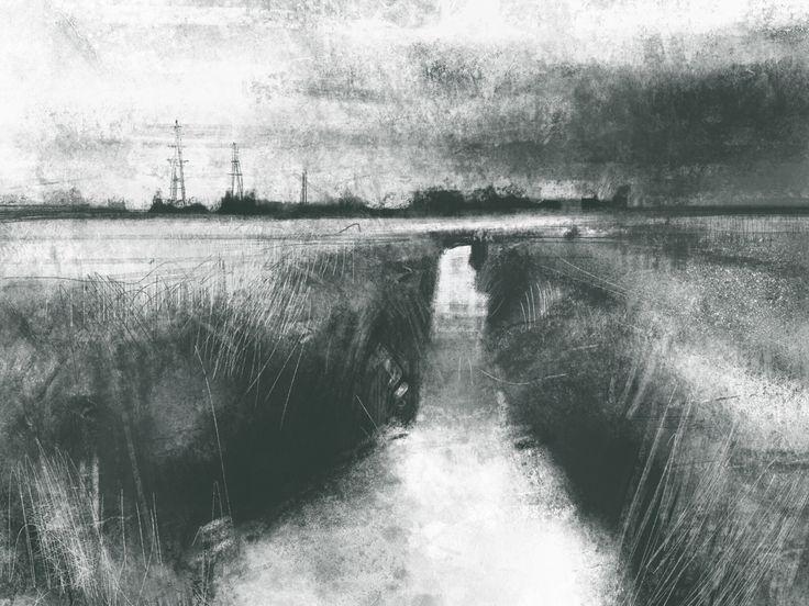 iPad sketch using Procreate, WWT Steart Marshes, Somerset. David A Parfitt RI www.davidparfitt-art.co.uk