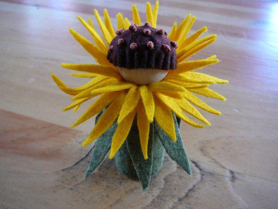 Yellow Peg Doll Flower Fairy Waldorf Inspired by BRIDGITSBELL, $12.00