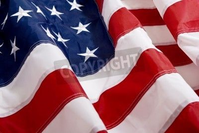 Close Up of The American Flag waving in the wind mural