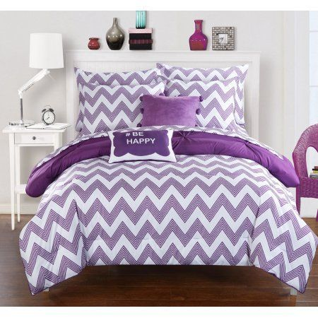 Chic Home 9-Piece Foxville Pinch Pleated and Ruffled Chevron Print Reversible, Includes Hashtag Pillow and Pom Pom Velour pillow Full Bed In a Bag Comforter Set Purple Sheets Included #DesignerBedSheets