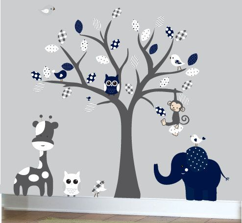 Wall Design Decals prettifying wall decals zoom Grey And Navy Childrens Wall Decal Grey Jungle Tree Decal