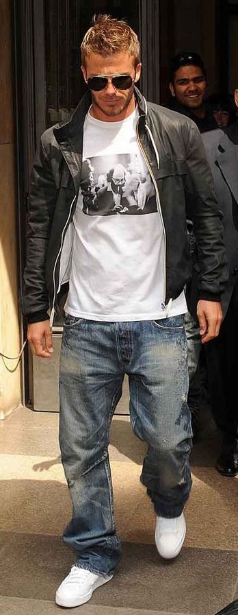 Bend my mans style like Beckham. love the black bomber jacket, white tee and relaxed fit jeans