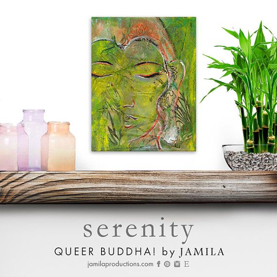 Queer Buddha Serenity ~ Zen master Buddha in a lush state of {SERENITY}. Prop this sacred power piece in your space and get serene!  Made with ♡ LOVE ♡ and ✩ LIGHT ✩ Original mixed media painting Stretched canvas ~ 8x10in original mixed media by jamilaproductions