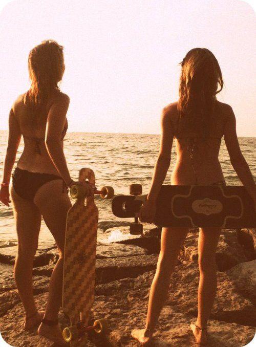 summer beach longboarding