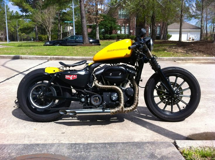 2011 HD Iron 883 -Silencer grips -stepped drag pipes wrapped -Rich Phillips seat -Biltwell Struts -total parts cost apprx 700$