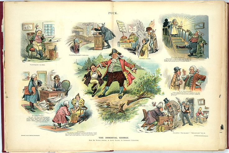 An 1898 cartoon about George Washington's honesty and how it would serve him in that present day—or wouldn't serve him, so twisted were the values of 1898 in comparison. (Library of Congress)