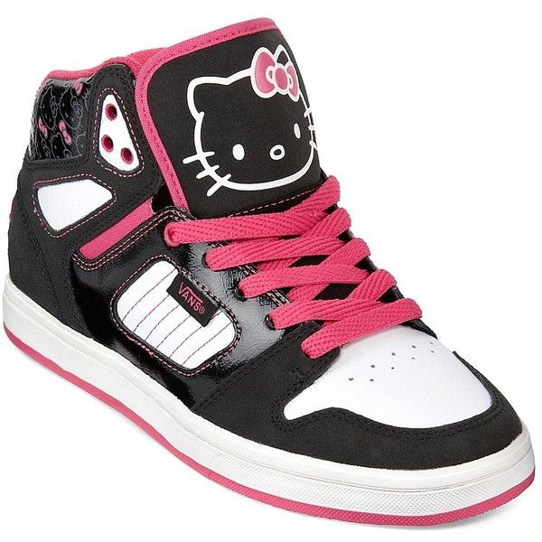Vans(R) Allred Hello Kitty High-Top Sneakers ($50) ❤ liked on Polyvore featuring shoes, sneakers, hello kitty, shoes/socks, vans, hi tops, vans sneakers, hello kitty sneakers, hello kitty high tops and hello kitty shoes