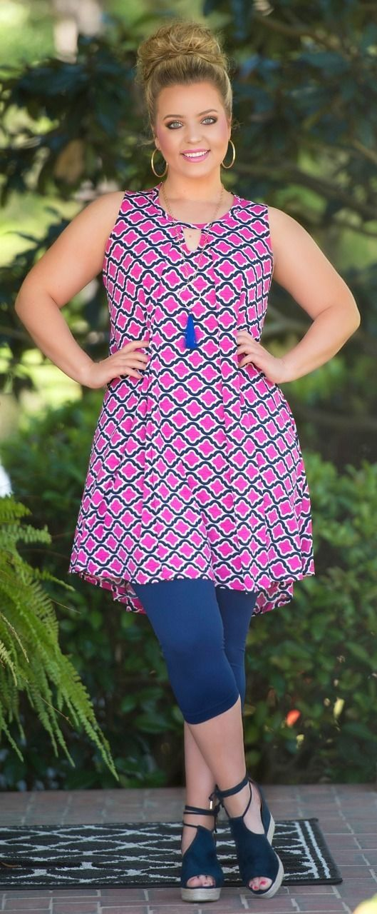Let's Link Up Dress / Tunic - Fuchsia & Navy - Perfectly Priscilla Boutique