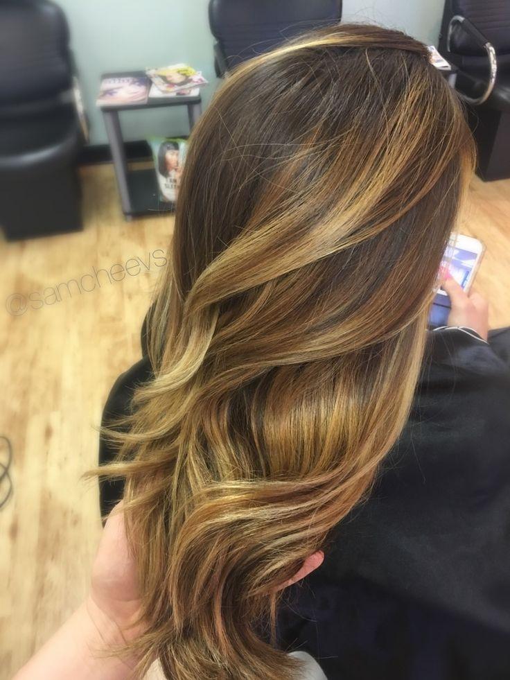 Warm golden honey caramel highlights for chocolate chestnut summer hair color ideas for brown hair and dark hair / Hispanic / Latina / Indian / Caucasian / Asian / ethnic hair types
