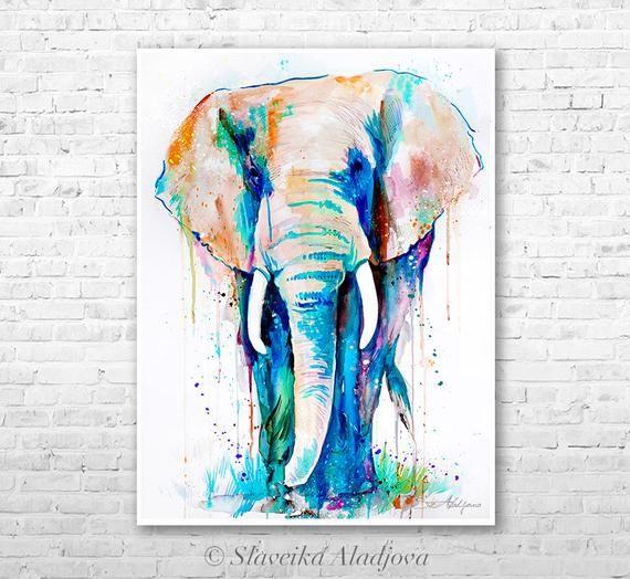 African Elephant Watercolor Painting Print By Slaveika Aladjova