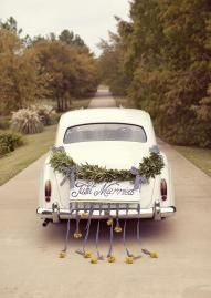 Make your getaway in a vintage Rolls Royce from Blue Diamond Limousines decorated with gorgeous Just Married garland from Dr. Delphinium Designs and Events!   Photo by Sarah Kate, Photographer  #wedding #getaway #car #flowers