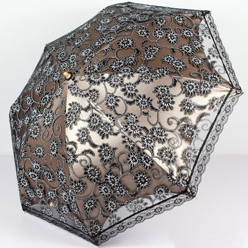 Black Lace Floral Goth Wedding Bridal Sun Parasol Umbrella Parasole SKU-71104084