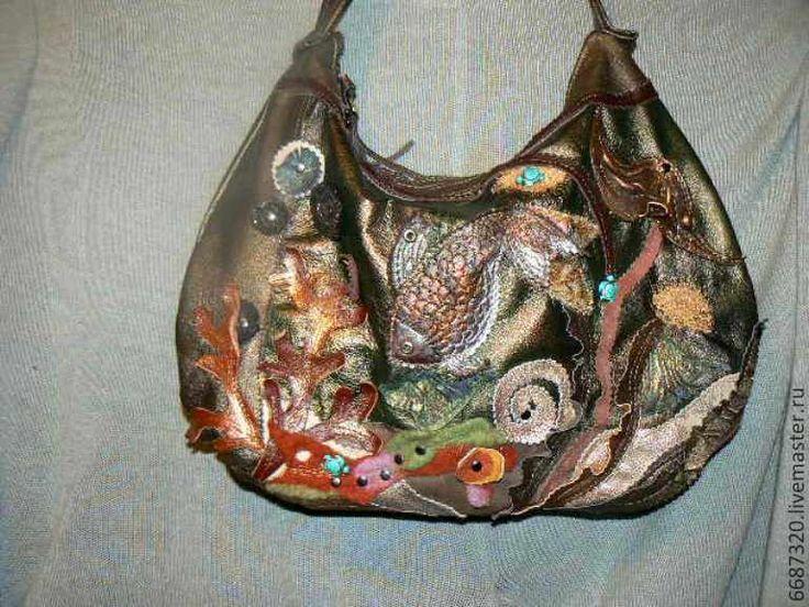 Купить Сумка из кожи Золотая рыбка сделана на заказ А - сумка из натуральной кожи