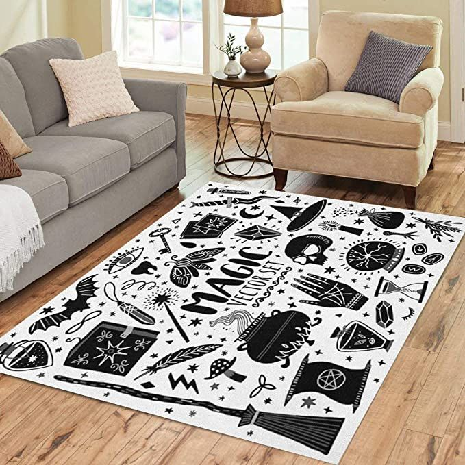 Amazon Com Pinbeam Area Rug Witch Magic Doodle Sketch Magician Witchcraft Symbols Wizard Home Decor Floor Rug 3 X In 2020 Floor Rugs House Doodle Witchcraft Symbols