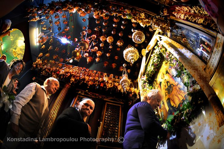 believers paying their respects to the Panagia