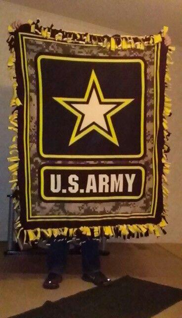 Army/yellow twist tie blanket