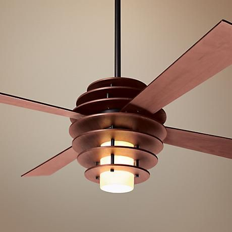 Mahogany-Bronze Ceiling Fan with Light. Distinctive style! | via Lamps Plus