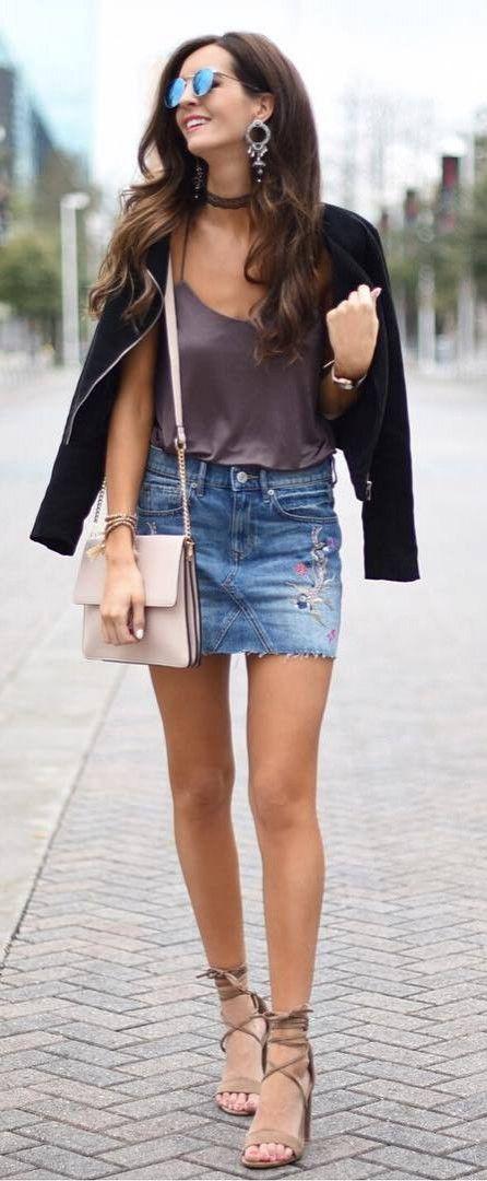 outfit idea top + skirt + bag + jacket