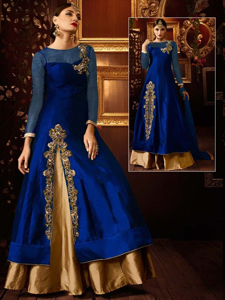Party Wear Designer Lehenga with golden zari work. Item Code:GKE103B http://www.bharatplaza.com/new-arrivals/lehengas.html