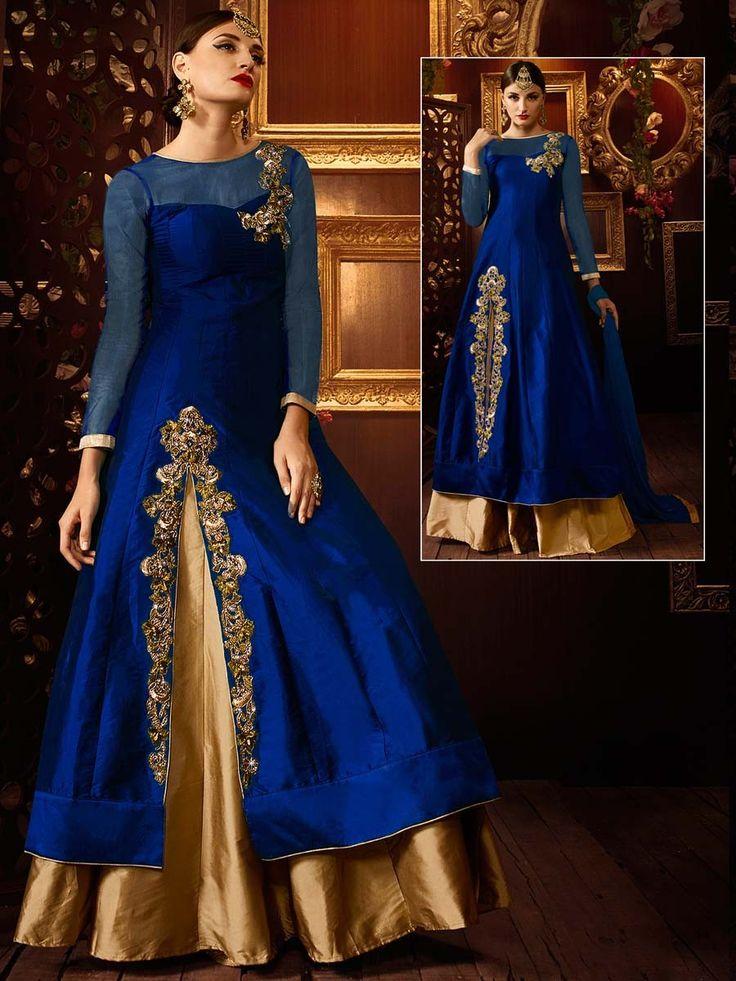 Party Wear Designer Lehenga with golden zari work. Item Code:GKE103B http://www.bharatplaza.com/new-arrivals/lehengas.html