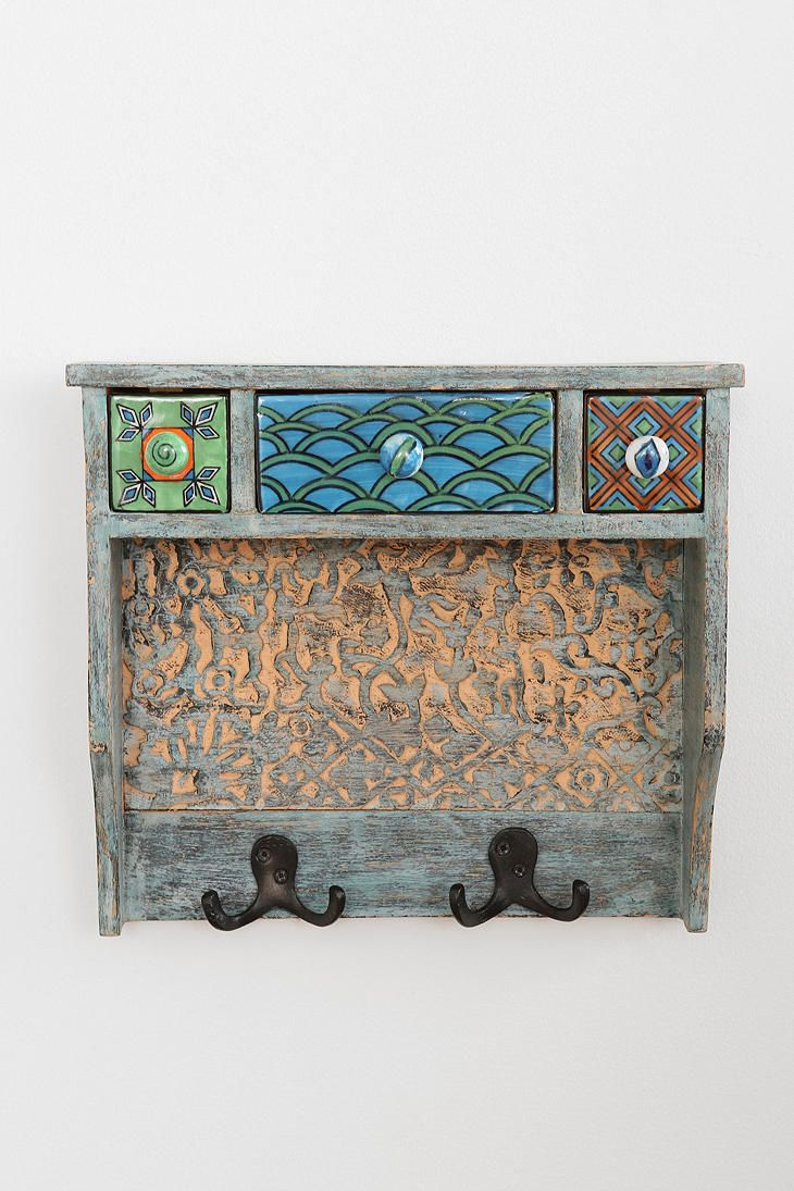 Painted Woodblock Wall Shelf From Urban Course Shelves Room Accessories