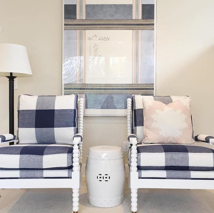 Blue Gingham Checkered Chairs