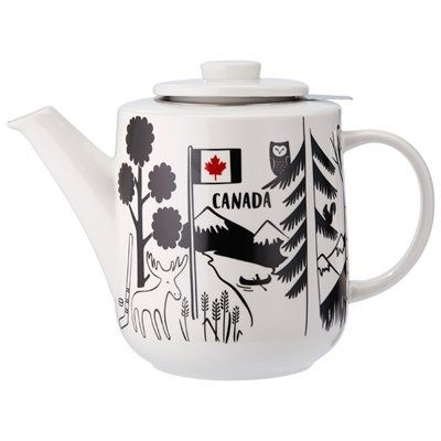 Indigo Canada 150 commemorative souvenir teapot ... decorated with mountain scene including moose, owl, beaver, maple syrup and Maple Leaf flag on white cylinder shape body, celebrating 150th anniversary of Confederation, porcelain with stainless steel infuser filter, 2017