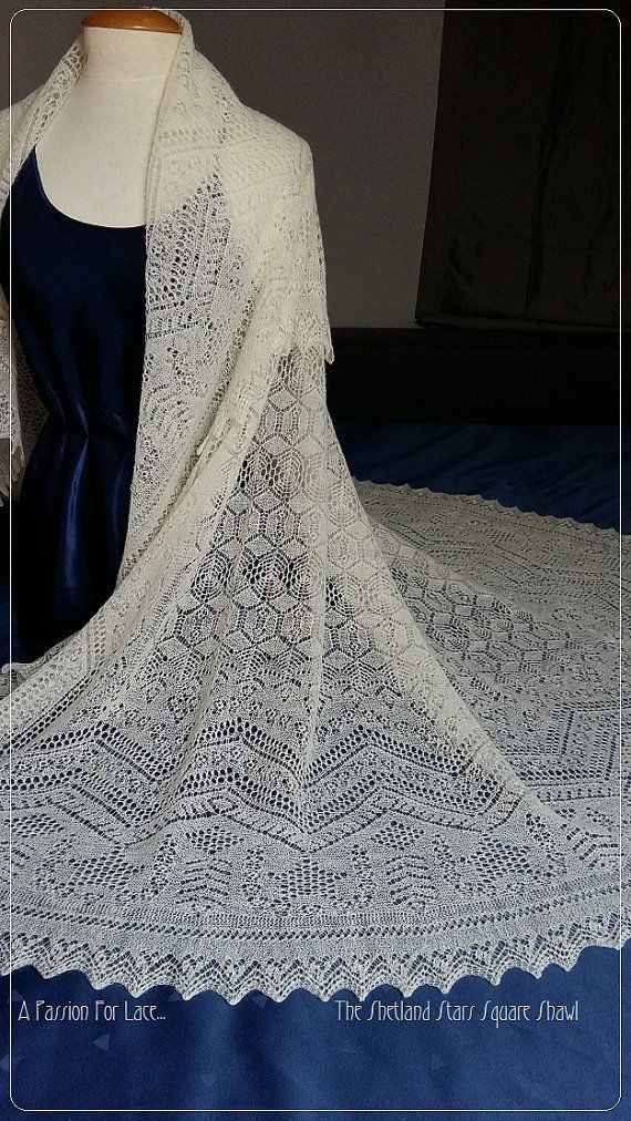 A fine lace square shawl in Shetland pattern. The main feature are the stars in…