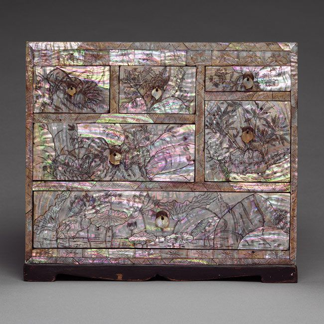 Chest of drawers with floral decoration, Joseon dynasty (1392–1910), late 19th century  Korea  Lacquer with mother-of-pearl