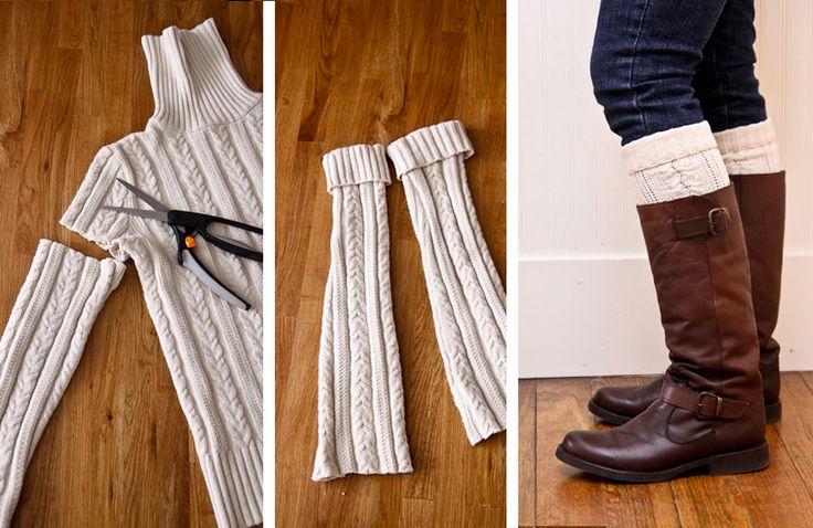 Riutilizzare i maglioni di lana - Scaldamuscoli da indossare sotto gli stivali