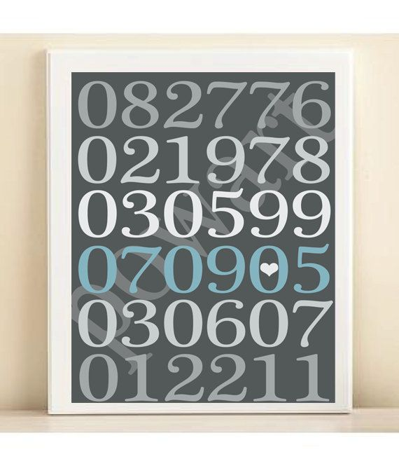 Personalized Special Dates Subway Art Print: Custom Birthday, Engagement, Wedding Date Poster in Gray, White, Blue
