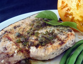 Grilled Swordfish with Grill-Roasted Lemon and Caper Dressing