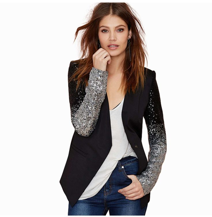 2016 тонкий женщины Искусственная лоскутная Черный серебристый блестки Куртки Полный рукавом Мода зимнее пальто для оптовой продажи купить на AliExpress