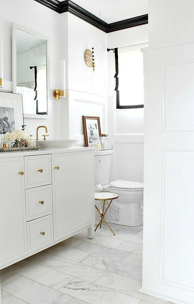 Love This Sleek All White Bathroom With Black Trim On The