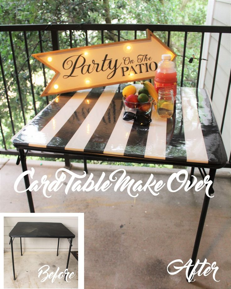 Table Make Over Tutorial - I had an ugly card table that I was not ready to throw away. So instead, I made it beautiful.