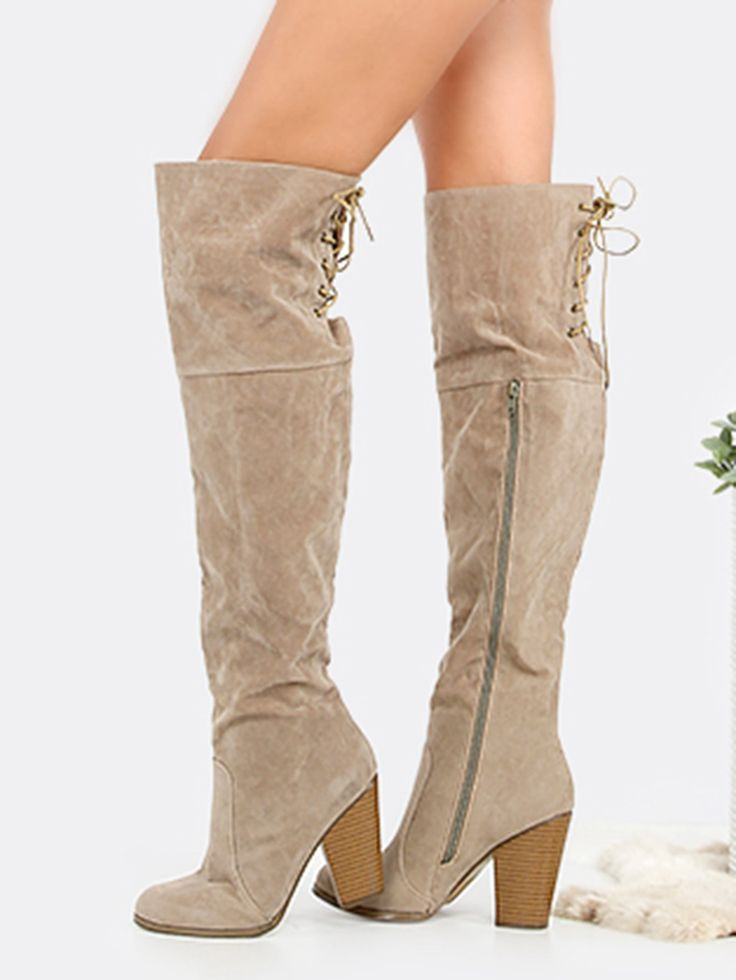 Shop Suede Lace Back Stacked Heel Boots SAND online. SheIn offers Suede Lace Back Stacked Heel Boots SAND & more to fit your fashionable needs.