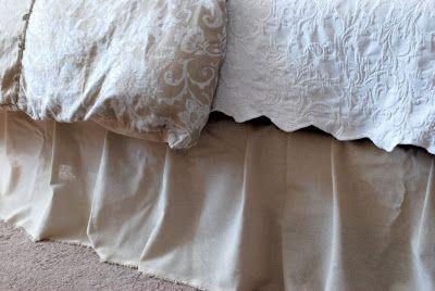 No-sew bed skirt.  Brilliant idea!
