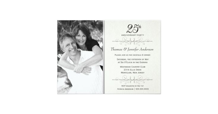 Create your own elegant 25th Wedding Anniversary Party Invitations with photo on beautiful simulated vintage parchment -- Customise the name, date, and details for this happy occasion. **NOTE: Sized for 5x7 invitation cards. Other sizes available. © Teri Francis. Matching postage and thank you cards available.