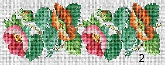 Berlin Woolwork Floral Borders 1 2 4 Panel by MyTreasureIsland